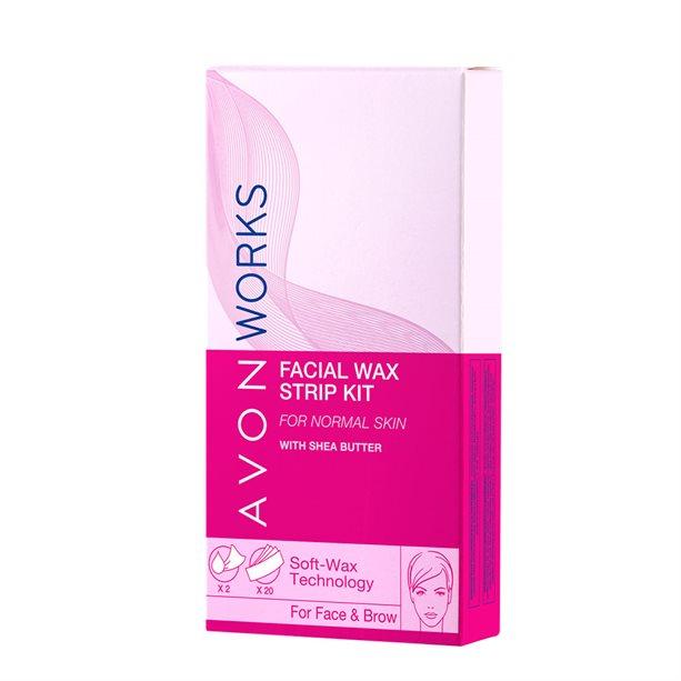 Набор для удаления волос на лице: восковые полоски + влажные салфетки, Avon  - Купить