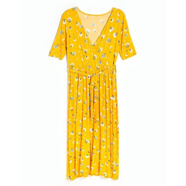 Купить Женское платье - Размер 50-52, желтое с принтом, Avon